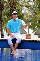 Dylan Frittelli (RSA) poses with the trophy after the final round of the Afrasia Bank Mauritius Open played at Heritage Golf Club, Domaine Bel Ombre, Mauritius. 03/12/2017.<br />Picture: Golffile | Phil Inglis<br /><br /><br />All photo usage must carry mandatory copyright credit (&copy; Golffile | Phil Inglis)