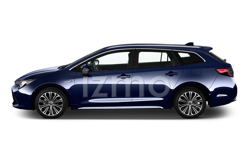 Car driver side profile view of a 2019 Toyota Corolla Touring Sports Premium 5 Door Wagon