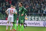 15.04.2018, Weser Stadion, Bremen, GER, 1.FBL, Werder Bremen vs RB Leibzig, im Bild<br /> <br /> Ishak Belfodil (Werder #29)<br /> Stefan Ilsanker (RB Leipzig #13)<br /> Florian Kainz (Werder Bremen #7)<br /> entt&auml;uscht / enttaeuscht / traurig / <br /> <br /> Foto &copy; nordphoto / Kokenge
