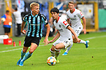 11.08.2019, Carl-Benz-Stadion, Mannheim, GER, DFB Pokal, 1. Runde, SV Waldhof Mannheim vs. Eintracht Frankfurt, <br /> <br /> DFL REGULATIONS PROHIBIT ANY USE OF PHOTOGRAPHS AS IMAGE SEQUENCES AND/OR QUASI-VIDEO.<br /> <br /> im Bild: Dorian Diring (SV Waldhof Mannheim #8) gegen Daichi Kamada (Eintracht Frankfurt #40)<br /> <br /> Foto © nordphoto / Fabisch