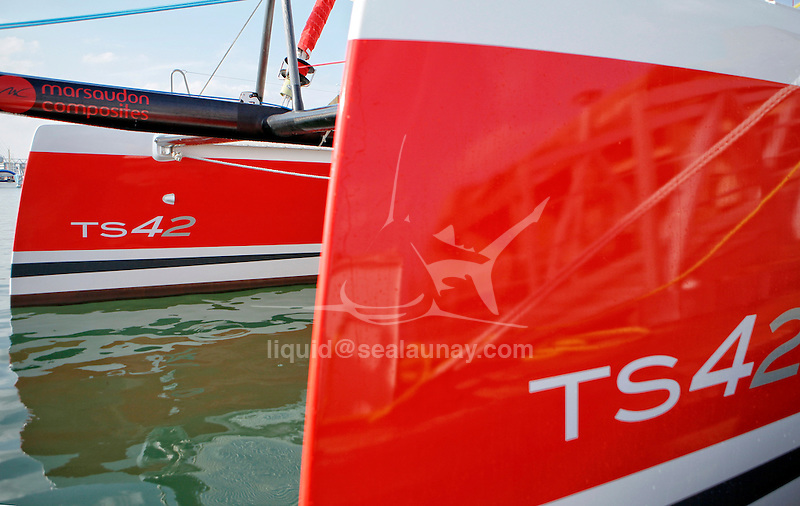 The TS42 Imagine Catamaran Design by Christophe Barreau and built by Marsaudon Composites, Lorient, Morbihan, France.