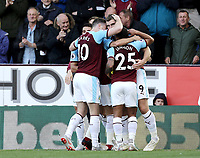 Burnley's Sam Vokes celebrates scoring the opening goal with team-mates Ashley Barnes and Aaron Lennon<br /> <br /> Photographer Rich Linley/CameraSport<br /> <br /> The Premier League - Burnley v Huddersfield Town - Saturday 6th October 2018 - Turf Moor - Burnley<br /> <br /> World Copyright &copy; 2018 CameraSport. All rights reserved. 43 Linden Ave. Countesthorpe. Leicester. England. LE8 5PG - Tel: +44 (0) 116 277 4147 - admin@camerasport.com - www.camerasport.com