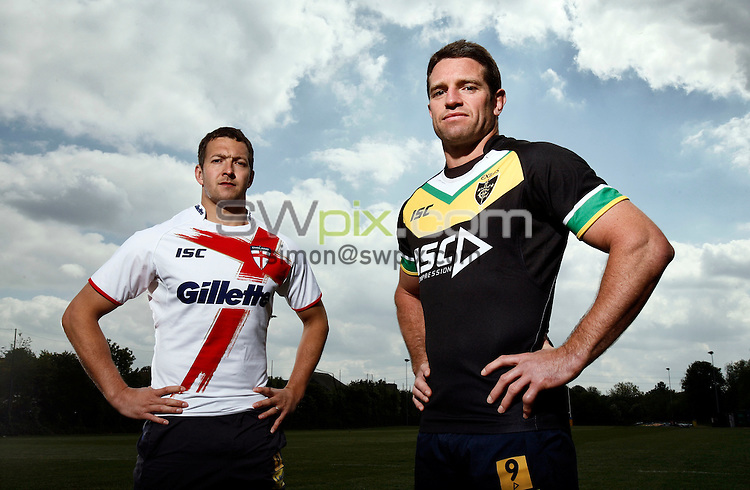PICTURE BY VAUGHN RIDLEY/SWPIX.COM...Rugby League - International Origin - England v Exiles Shirt Launch - Kirkstall Training Ground, Leeds, England - 03/05/11...England's Danny McGuire and Exiles Captain Danny Buderus launch the playing shirts to be worn in the International Origin Match at Headingley on June 10th, 2011.