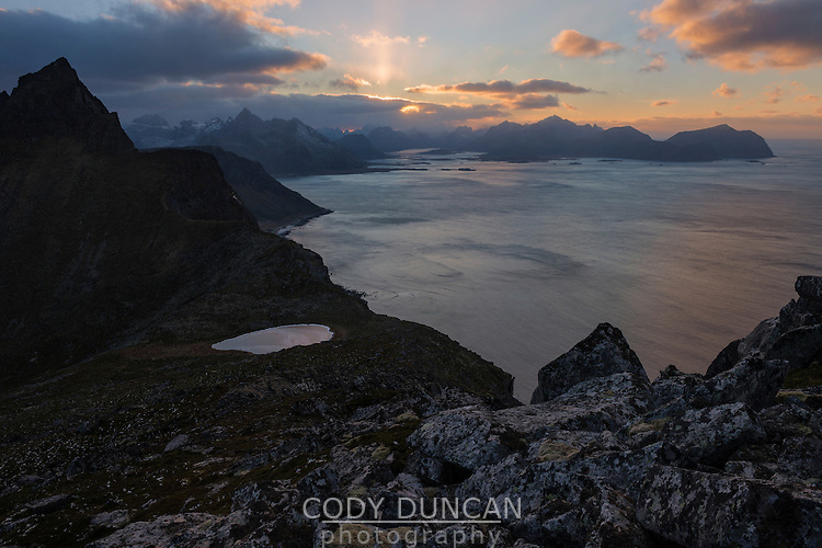 View west from summit of Møntind, Flakstadøy, Lofoten Islands, Norway