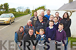 DANGER: Residents of Farran, Causeway who want to move a wall which is causing an obstruction to traffic coming onto the main road with local election candidates Cllr Robert Beasley and Risteard O'Fu?ara?in.