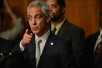 Chicago Mayor Rahm Emanuel during a press conference at Chicago City Hall announcing more Tasers for Chicago police officers and training following a deadly shooting involving Chicago police over the weekend while Mayor Emanuel was on vacation in Cuba in Chicago, Illinois on December 30, 2015.  Over the weekend, Chicago police shot and killed 55 year old Bettie Jones and 19 year old Quintonio LeGrier while responding to a call over a domestic incident.