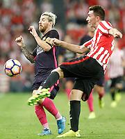 Athletic de Bilbao's Aymeric Laporte (r) and FC Barcelona's Leo Messi during La Liga match. August 28,2016. (ALTERPHOTOS/Acero) /NORTEPHOTO