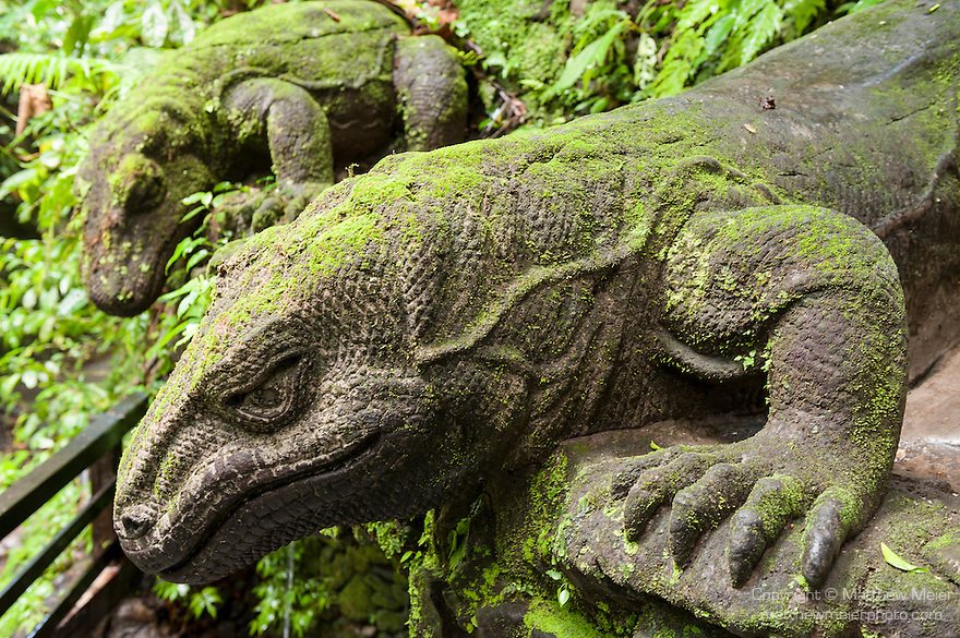 Monkey Forest, Ubud, Bali, Indonesia; Komodo dragon sculptures entitled Komodo Relief, Oleh Panjak 1997