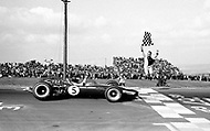 Watkins Glen, New York, USA. 01 Oct 1967. Scottish Formula One racecar driver Jim Clark of Team Lotus wins the 1967 Watkins Glen Formula One Grand Prix.