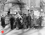 Workers strike in Waterbury by the Soldiers Monument, circa 1935.