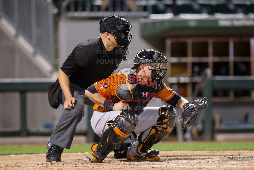 Norfolk Tides catcher Chance Sisco (23) sets a target as home plate umpire Chris Segal looks on during the game against the Charlotte Knights at BB&T BallPark on May 2, 2017 in Charlotte, North Carolina.  The Knights defeated the Tides 8-3.  (Brian Westerholt/Four Seam Images)