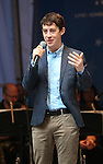 Alex Sharp performing at United presents 'Stars in the Alley' in  Shubert Alley on May 27, 2015 in New York City.