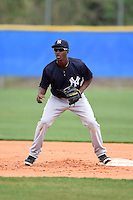 New York Yankees Jorge Mateo (27) during practice before a minor league spring training game against the Toronto Blue Jays on March 24, 2015 at the Englebert Complex in Dunedin, Florida.  (Mike Janes/Four Seam Images)