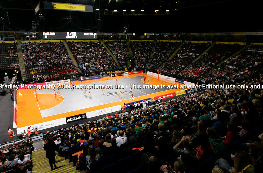 10.10.2009 A general view of the action during the World Netball Series match between Australia and England in Manchester, England. Mandatory Photo Credit (Pic: Tim Hales). ©Michael Bradley Photography.