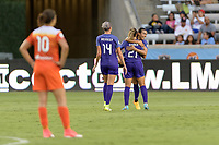 Houston, TX - Saturday June 17, 2017: Monica Hickmann Alves and Marta Vieira Da Silva celebrates her goal during a regular season National Women's Soccer League (NWSL) match between the Houston Dash and the Orlando Pride at BBVA Compass Stadium.