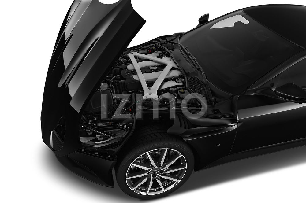 Car Stock 2018 Aston Martin DB11 - 2 Door Coupe Engine  high angle detail view
