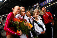 September 8, 2007; Stuttgart, Germany;  (L-R) America women's team portrait...Anastasia Liukin, Alicia Sacramone, Marta Karoyli, Shawn Johnson, Liang Chow after event finals in women's artistic gymnastics at 2007 World Championships.  Photo by Copyright 2007 by Tom Theobald.
