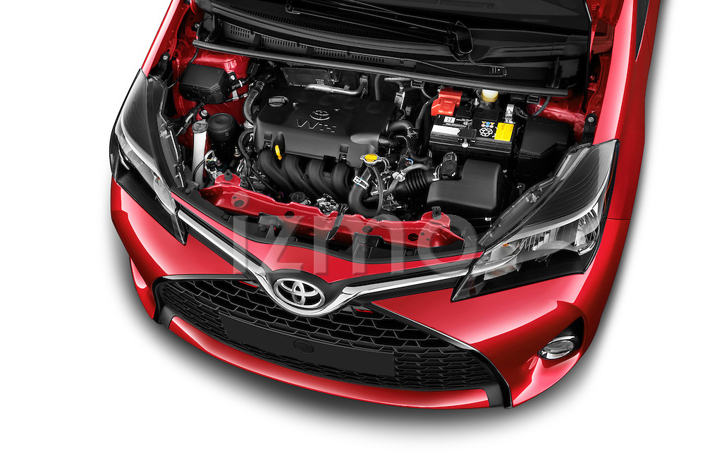 Car Stock 2015 Toyota Yaris SE 5-Door Liftback AT 5 Door Hatchback Engine high angle detail view