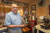 NWA Democrat-Gazette/FLIP PUTTHOFF<br />Charles Wolfe's works of art take shape in a garage        Aug. 11 2017      that he's turned into a comfortable woodcarving studio.
