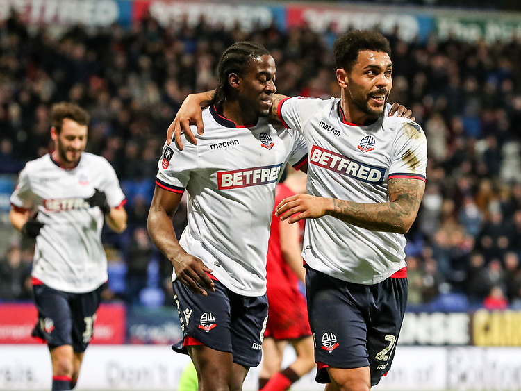 Bolton Wanderers' Clayton Donaldson celebrates scoring his side's third goal with team mate Josh Magennis <br /> <br /> Photographer Andrew Kearns/CameraSport<br /> <br /> Emirates FA Cup Third Round - Bolton Wanderers v Walsall - Saturday 5th January 2019 - University of Bolton Stadium - Bolton<br />  <br /> World Copyright © 2019 CameraSport. All rights reserved. 43 Linden Ave. Countesthorpe. Leicester. England. LE8 5PG - Tel: +44 (0) 116 277 4147 - admin@camerasport.com - www.camerasport.com