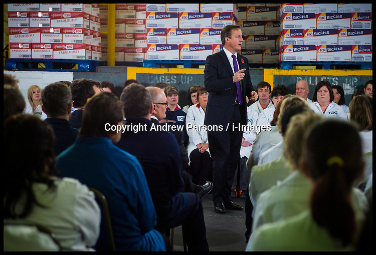 The Prime Minister David Cameron during a PM Direct at Fox's Biscuits in Uttoxeter, Staffordshire, Friday November 9, 2012 Photo Andrew Parsons ..