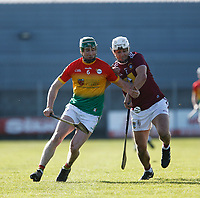 8th March 2020; TEG Cusack Park, Mullingar, Westmeath, Ireland; Allianz League Division 1 Hurling, Westmeath versus Carlow; David English (Carlow) and Robbie Greville (Westmeath) challenge for the ball
