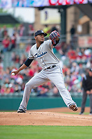 Columbus Clippers starting pitcher Jefry Rodriguez (26) during an International League game against the Indianapolis Indians on April 30, 2019 at Victory Field in Indianapolis, Indiana. Columbus defeated Indianapolis 7-6. (Zachary Lucy/Four Seam Images)