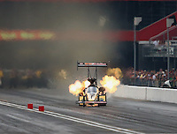 Jun 20, 2015; Bristol, TN, USA; NHRA top fuel driver Leah Pritchett has an engine fire during qualifying for the Thunder Valley Nationals at Bristol Dragway. Mandatory Credit: Mark J. Rebilas-USA TODAY Sports