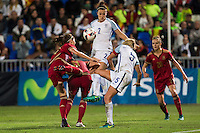 England's Steph Houghton Lucy Bronze during the frendly match between woman teams of  Spain and England at Fernando Escartin Stadium in Guadalajara, Spain. October 25, 2016. (ALTERPHOTOS/Rodrigo Jimenez) /NORTEPHOTO.COM