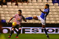 David Davis of Birmingham attempts to block off Tyais Browning of Sunderland during the Sky Bet Championship match between Birmingham City and Sunderland at St Andrews, Birmingham, England on 30 January 2018. Photo by Bradley Collyer / PRiME Media Images.