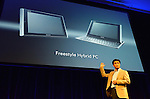 April 26th, 2011, Tokyo, Japan - Kunimasa Suzuki, deputy president of Networked Products & Services Group of Sony introduces Sony's first tablet computers at their unveiling ceremony in Tokyo on Tuesday, April 26, 2011. Sony launched its first tablet computers S1 and S2 which use an operating system based on Google's Android 3.0. (Photo by Koichi Mitsui/AFLO) -tm-.