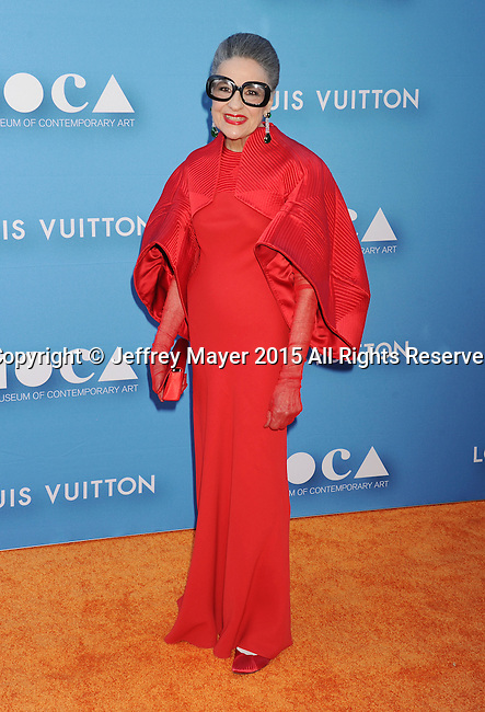 LOS ANGELES, CA - MAY 30: Philanthropist Joy Venturini Bianchi arrives at the 2015 MOCA Gala presented by Louis Vuitton at The Geffen Contemporary at MOCA on May 30, 2015 in Los Angeles, California.