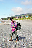 ALASKA, Homer, longtime local and fisherman Bumpo Bremicker at Bishop Beach, Kachemak Bay
