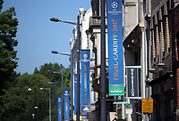 Pictured: UEFA Champions League banners on Westgate Street Thursday 25 May 2017<br />Re: Preparations for the UEFA Champions League final, between Real Madrid and Juventus in Cardiff, Wales, UK.