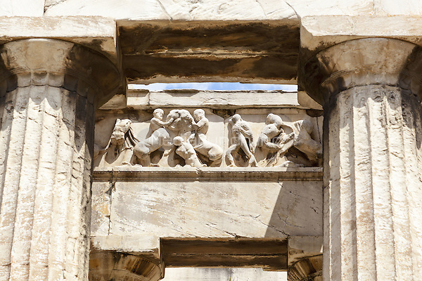 Frieze and columns, Temple of Hephaestus, Ancient Agora of Athens, Athens, Greece <br /> CAP/MEL<br /> &copy;MEL/Capital Pictures /MediaPunch ***NORTH AND SOUTH AMERICA ONLY***