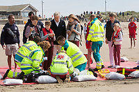 Le roi Philippe de Belgique, la reine Mathilde de Belgique, leurs enfants ; la Princesse Elisabeth, le Prince Gabriel, le Prince Emmanuel et la Princesse El&eacute;onore assistent &agrave; une d&eacute;monstration des services de sauvetage sur la plage de Middelkerke. <br /> La princesse Elisabeth a elle-m&ecirc;me particip&eacute; &agrave; la r&eacute;animation.<br /> Belgique, Middelkerke, 1er juillet 2017.<br /> King Philippe of Belgium, Queen Mathilde of Belgium and their children, Crown Princess Elisabeth, Prince Emmanuel, Prince Gabriel, and Princess Eleonore of Belgium pictured during a rescue exercice, part of a visit of Belgian royal couple at the Belgian coast, in Westende, Middelkerke.<br />  Belgium, Westende, Middelkerke, 01 July 2017.<br /> Pic :  King Philippe of Belgium, Queen Mathilde of Belgium, Crown Princess Elisabeth of Belgium, Prince Emmanuel of Belgium, Prince Gabriel of Belgium, Princess Eleonore of Belgium