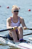 Brandenburg. GERMANY. GBR W1X.  Mathilda HODGKINS-BYRNE. at the Start of her heat at the <br /> 2016 European Rowing Championships at the Regattastrecke Beetzsee<br /> <br /> Friday  06/05/2016<br /> <br /> [Mandatory Credit; Peter SPURRIER/Intersport-images]