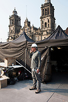 Luis Rodriguez at work on the Day of the dead instalations in the Zocalo 2017, Mexico City, Mexico