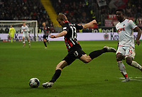 Martin Hinteregger (Eintracht Frankfurt) klaert gegen Jhon Cordoba (1. FC Koeln) - 18.12.2019: Eintracht Frankfurt vs. 1. FC Koeln, Commerzbank Arena, 16. Spieltag<br /> DISCLAIMER: DFL regulations prohibit any use of photographs as image sequences and/or quasi-video.