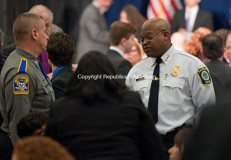 DANBURY, CT 21 FEBRUARY 2013-0212113JS11-- Stratford Police Chief and former Waterbury Assistant Deputy Police Chief, Patrick Ridenhour, was in attendance during a Gun Violence Forum Thursday at Western Connecticut State University in Danbury. .Jim Shannon Republican-American