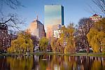 Back Bay skyline from Boston Public Garden, Boston, MA