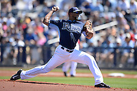 Tampa Bay Rays pitcher Juan Sandoval (83) during a spring training game against the Minnesota Twins on March 2, 2014 at Charlotte Sports Park in Port Charlotte, Florida.  Tampa Bay defeated Minnesota 6-3.  (Mike Janes/Four Seam Images)