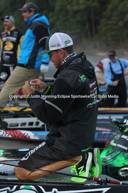 FLW pros getting prepared before taking off on day one of the Forrest Wood Cup. Aug 20 August 20, 2015: Lake Ouachita in Hot Springs, AR. Justin Manning/ESW/CSM