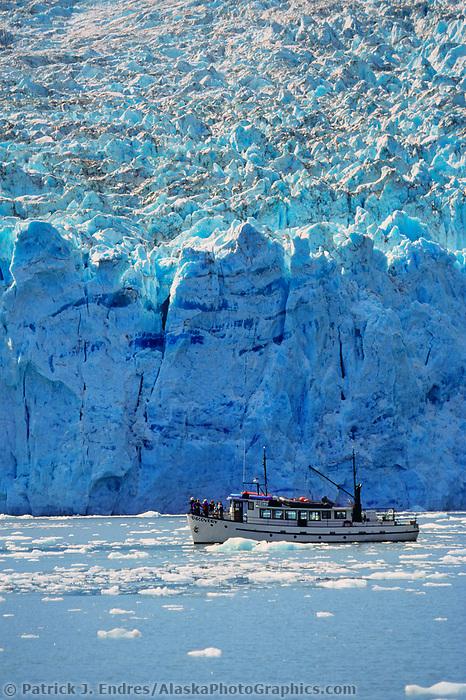 MV Discovery takes tourists by the tidewater face of Beloit glacier, Blackstone Bay, Prince William Sound, Alaska