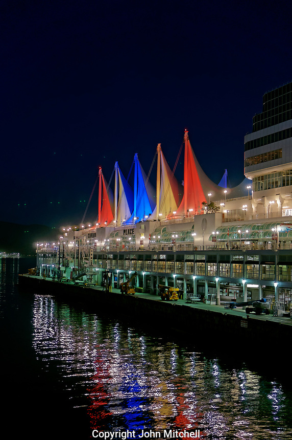 Canada Place sails and cruise terminal dock at night, Vancouver, British Columbia, Canada