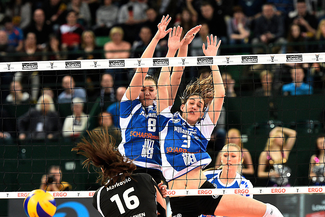 Halle/Westfalen, Germany, March 01: during the Volleyball DVV-Pokalfinale (Damen) between Ladies in Black Aachen and Allianz MTV Stuttgart on March 1, 2015 at the Gerry Weber Stadion in Halle/Westfalen, Germany. Final score 2-3 (25-17, 25-20, 19-25, 19-25, 13-15). (Photo by Dirk Markgraf / www.265-images.com) *** Local caption *** Srna Markovic #16 of Ladies in Black Aachen, Katherine Harms #8 of Allianz MTV Stuttgart, Micheli Tomazela Pissinato #3 of Allianz MTV Stuttgart