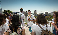 Incoming Occidental College students participate in Oxy Engage with the group LA Icons and tour downtown Los Angeles, on Aug. 24, 2016.<br /> Oxy Engage is a pre-orientation program that introduces incoming students to the vibrant city of Los Angeles. Upperclassmen facilitators lead trips to experience culture, film, food, nature, social justice, the urban environment, and much more.<br /> (Photo by Marc Campos, Occidental College Photographer)