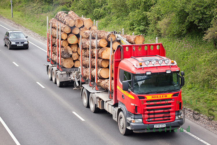 Traffic on the A75 wood timber lorry on Dumfries by-pass Scotland UK