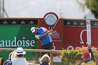 Victor Dubuisson (FRA) tees off the 16th tee during Thursday's Round 1 of the 2017 Omega European Masters held at Golf Club Crans-Sur-Sierre, Crans Montana, Switzerland. 7th September 2017.<br /> Picture: Eoin Clarke | Golffile<br /> <br /> <br /> All photos usage must carry mandatory copyright credit (&copy; Golffile | Eoin Clarke)