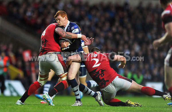 Jack Tovey is double-tackled. Greene King IPA Championship Final, First Leg, between London Welsh and Bristol Rugby on May 28, 2014 at the Kassam Stadium in Oxford, England. Photo by: Patrick Khachfe / JMP